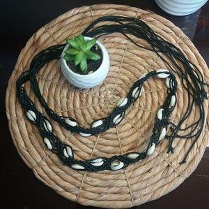 Accessories - Black Macrame Shell Belt